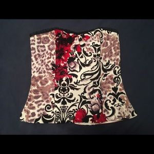 Strapless bodice floral with red flowers